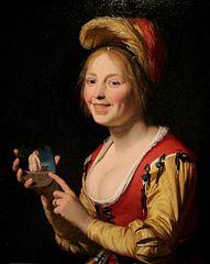 Smiling Girl, a Courtesan, Holding an Obscene Image