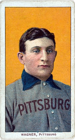 The American Tobacco Company's line of baseball cards featured shortstop Honus Wagner of the Pittsburgh Pirates from 1909 to 1911. In 2007, the card shown here sold for $2.8 million. Honus wagner t206 baseball card.jpg