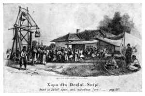 Hora (dance) - Dancing the hora on Dealul Spirii (Spirii Hill), Bucharest (1857 lithograph)