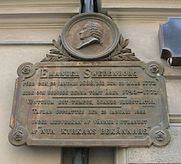 Memorial plaque at the former location of Emanuel Swedenborg's house at Hornsgatan on Södermalm, Stockholm.