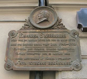 Emanuel Swedenborg - Memorial plaque at the former location of Swedenborg's house at Hornsgatan on Södermalm, Stockholm.