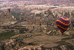 w:Hot air balloon over Cappadocia.w:Cappadocia...