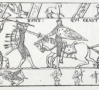 Housecarl - This part of the Bayeux tapestry probably shows a fight between a Norman knight (right) and an English housecarl, wielding a Dane axe with two hands.
