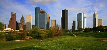 English: Photograph of the skyline of Downtown...