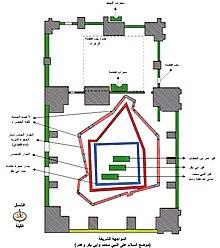قبر النبي صلى الله عليه وسلم وصاحبيه... 220px-Hujrah_Drawing
