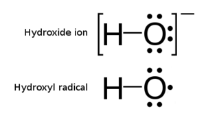 Hydroxyl radical - Comparison of a hydroxide ion and a hydroxyl radical.