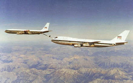 Boom and receptacle – A Boeing 707 of the Imperial Iranian Air Force refuels an IIAF Boeing 747. - Aerial refueling