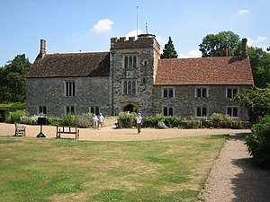 Lord of the manor - Ightham Mote, a 14c moated manor house near Sevenoaks, Kent, England