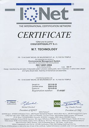 Environmental certification - Example of ISO 14001 certificate