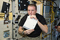 ISS-43 Terry Virts takes a drink of his very first milkshake.jpg