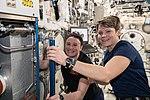 ISS-57 Serena Auñón-Chancellor and Anne McClain work in the Kibo lab.jpg
