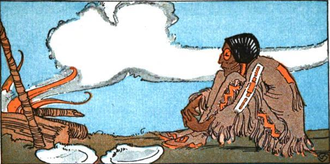 Iktomi - Iktomi depicted sitting by the fire.