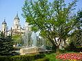 """Imagine a Catedralei Metropolitane din Iași """"văzută"""" din fața Primăriei amplasată în Palatul Roznovanu.JPG"""