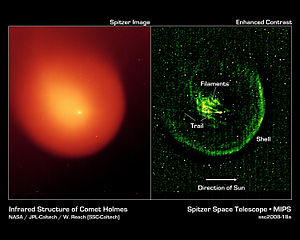 Coma (cometary) - Structure of Comet Holmes in infrared, as seen by an infrared space telescope