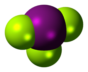 Iodine trifluoride - Image: Iodine trifluoride 3D spacefill