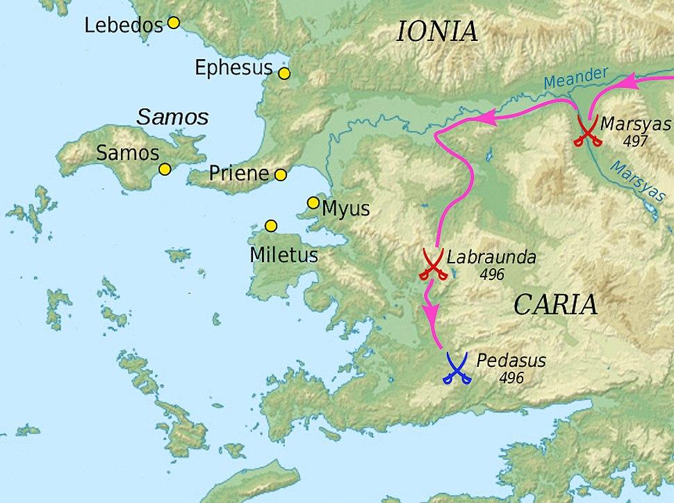 Ionian revolt Carian campaign