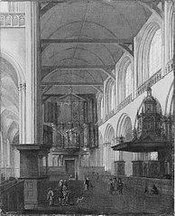 Het interieur van het schip van de Nieuwe Kerk naar het westen gezien