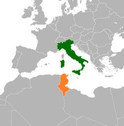 Map indicating locations of Italy and Tunisia
