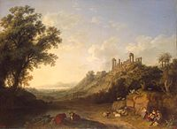 Landscape with temple ruins on Sicily, Jacob Philipp Hackert, 1778