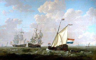 Jacob van Strij - Het jacht van de kamer Rotterdam begroet een Oostindiëvaarder.jpg