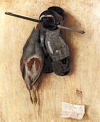 Jacopo de' Barbari: Still-Life with Partridge and Iron Gloves