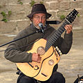 James Kline playing Arch-Harp Guitar by Alan Perlman, Cornouaille, Finistere, Brittany, France.jpg