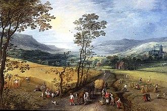 Joos de Momper - Summer landscape with harvesters