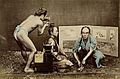 Japan; a hairdresser wearing a loin cloth at work on a Wellcome V0031335.jpg