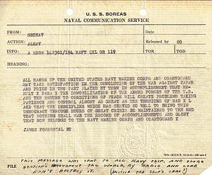 USS Boreas (AF-8) - Telegram from Secretary of the Navy James Forrestal announcing the surrender of Japan.
