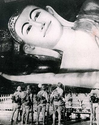 Japanese occupation of Burma - Japanese army at Shwethalyaung Buddha.