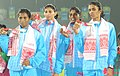 Jauna Murmu, Ashwani Akunj, Sini Jose and Poovamma of India winners of Gold Medal in Men's 1600m Relay in Athletics, at the 12th South Asian Games-2016, in Guwahati on February 11, 2016.jpg