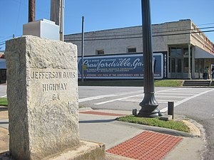 Jefferson Davis Highway - Marker along US 278 in Crawfordville, GA
