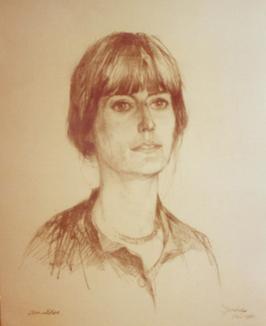 Houtskoolportret van Jenny Amelia Mulder door Van der Zee.