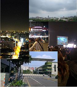 Clockwise from top left: Zhongli night sky, day sky, 2012 Dec 31 at HSR, Zhongli city library. Center: Zhongli night market