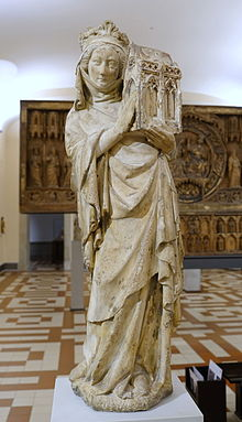 Joan I of Navarre, Queen of France as Benefactress, from a portal in the College de Navarre, Paris, c. 1305, limestone - Bode-Museum - DSC03464.JPG