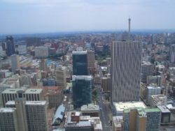The Johannesburg skyline as viewed from the observation deck of the Carlton Centre.