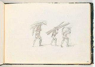 Tre mænd, der bærer store byrder på nakken og hovedet