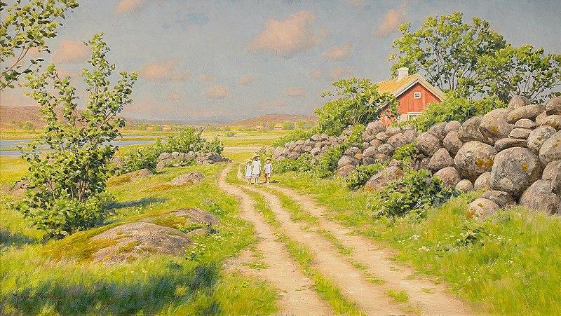 File:Johan Krouthén-Sommarlandskap med vandrande barn.jpg