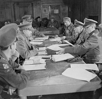 Johannes Blaskowitz - Blaskowitz  (second from right) surrenders German forces in Holland to Canadian officers.