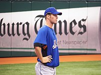 Mets pitcher John Maine before a Mets/Devil Rays spring training game at Tropicana Field in St. Petersburg, Florida.