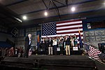 John McCain, Jay Feely, Jeff Flake, Cheryl Flake, Cindy McCain & Mitt Romney with supporters (23083649163).jpg