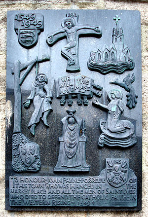 Christianity in Cornwall - Memorial to John Payne, portreeve of St Ives, one of the rebels