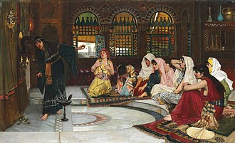 Oracle - Consulting the Oracle by John William Waterhouse, showing eight priestesses in a temple of prophecy