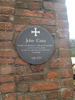 Photo of John Caius green plaque