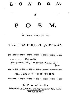1738 in poetry - Samuel Johnson's London proved popular enough for a second edition in the same year as the first