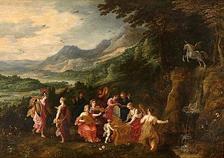 <i>Minervas Visit to the Muses</i> Painting by Joos de Momper