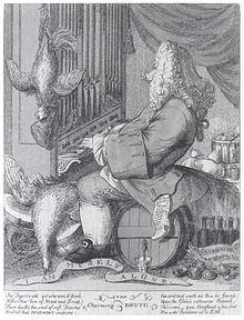 Caricature of Handel by Joseph Goupy (1754)