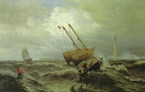 Julius Huth - Lotsenboot bei dem Leuchtturm von Cordouan vor der Garonne-Mündung.jpg