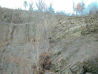 Lycoming County, Pennsylvania - Major fault at the dividing line between the Allegheny Plateau and the true Appalachian Mountains near Williamsport, Pennsylvania