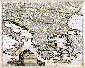 Justus Danckerts - The main Danube Principalities: Bulgaria, Greece, Anatolia and Italy, map now at the Romanian National Museum of Maps and Old Books.